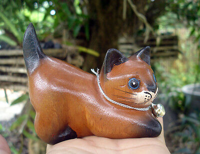 Hand Carved Wooden Cat Figurine Crafted Wood Kitty Kitten ring holder right face
