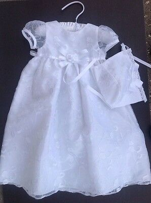 Picture Perfect Dress & Bonnet Embroidered Organza Christening Size 3-6M
