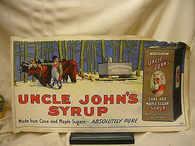 Vintage Paper Signs Advertising Uncle John's Syrup Can & Maple Sugar Boston Mass
