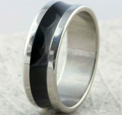 8mm Stainless Steel Silver & Black Mens Wedding Ring Womens Band (sizes M to Z)
