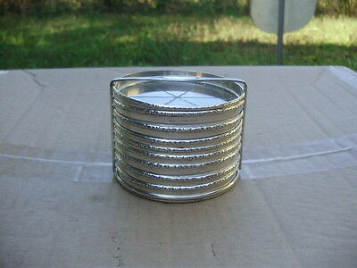 Vintage Sterling Silver Nine Glass Coasters with Caddy Stand B in a Box Hallmark