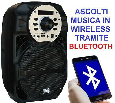 "Cassa Portatile Amplificata 200W 8"" Bluetooth + Batteria + Usb/Sd + Display"