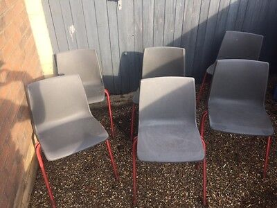Pel Steelux GLC Design Stacking Chairs - 11 to Adult Size D-E in Grey - Red Legs