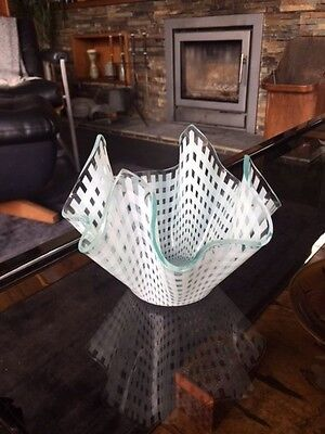 Vintage Hankerchief Vase - Chance Glass White Basket Pattern