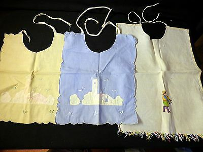 3 Vintage baby bib bibs LOT Embroidered bibs -Very Old- Bagpipe Player on one