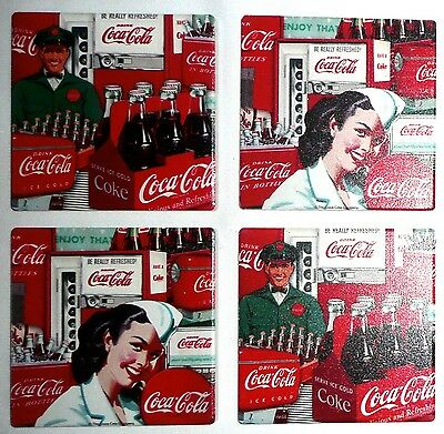 COCA-COLA Decorative Coasters (Set of 4) FCC017 OCS Coke Collage Vending A/2 NEW