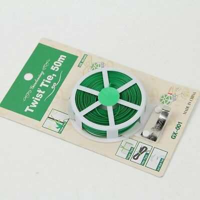 PVC Plant Cutter Spool 1 Roll Twist Tie Plastic Wire Green Garden String