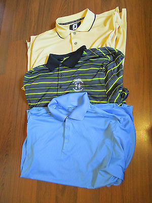 3 men's pre-owned golf shirts--2 NIKE & 1 Footjoy--size- large