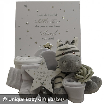 Packed silver & white keepsake box  unisex neutral baby gift basket baby hamper
