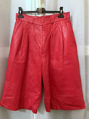 Gonna pantalone pelle rossa vintage red vtg culottes shorts 80's S/M