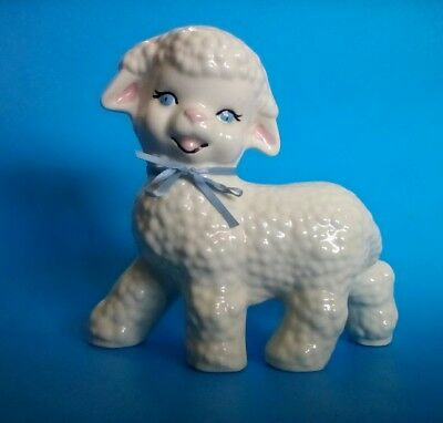 "WHITE LAMB SHEEP 6.5"" Tall x 6.5"" Long Ceramic Figurine"