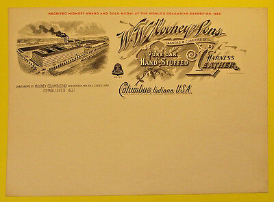 1893 Letterhead W.W. Mooney & Sons Leather Harness, Columbus, Indiana (LOT 301)