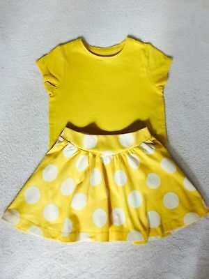 New, Girls Yellow Skirt & Top Outfit. Ex Mothercare age 4 5 6 7 years