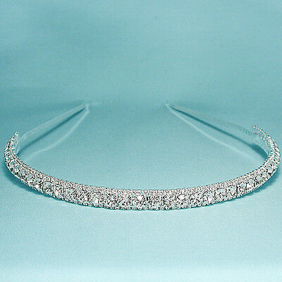 Elegant Clear Crystal Rhinestone Silver Headband Wedding Prom Bridal - H734CL