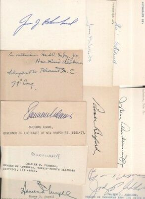 (15) Different Vintage Autographed Index Cards Deceased Rare Lot