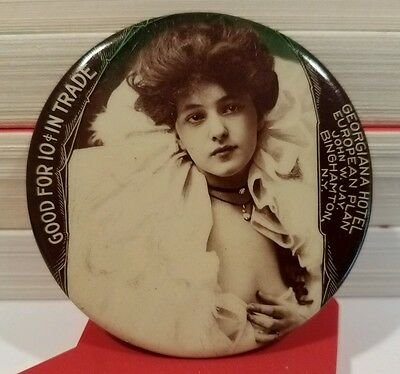 Vintage EVELYN NESBIT, Binghamton, NY Good For 10c Pocket Trade Token Mirror