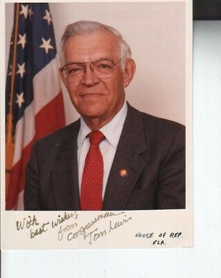 Tom Lewis Autographed 8x10 Photo Former Florida Politician D.03