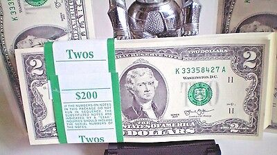 25 $2 Bills Currency ~TWO DOLLAR US NOTES CRISP MONEY ~  SERIES ~ UNCIRCULATED