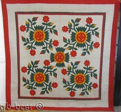 SHOW STOPPER 1880s PA Whig Rose Applique Antique Quilt RED Green Cheddar 90 x 93