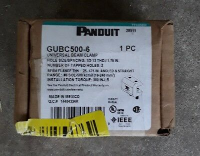 PANDUIT UNIVERSAL BEAM CLAMP FOR #6-500 kcmil (16-240 sq mm) GUBC500-6 ** NEW **