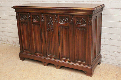 Gothic Cabinet In Fine Carved Walnut w/ LEROLLE PARIS Bronze Label - Signed