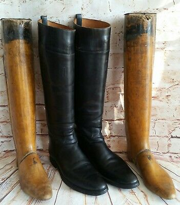 Antique Waukenphast Black Leather Equestrian Riding Boots W/wood Shapers London.