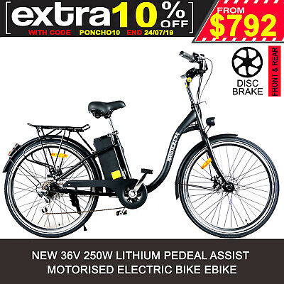Black Electric Bike Scooter Motorised Push Bicycle Ebike 250W Motor Lithium