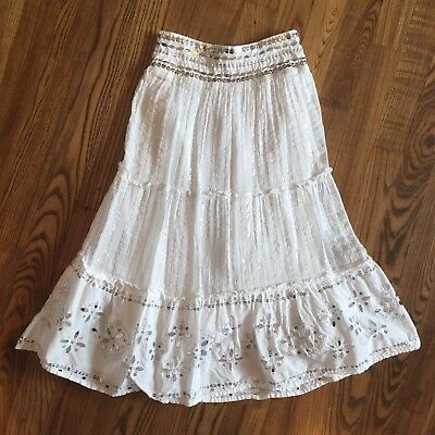 Justice Sz 7-8-9 White Silver Sequins Maxi Long Skirt Girls