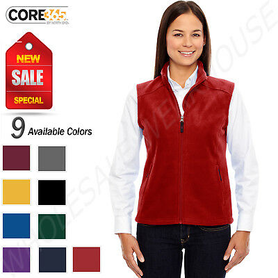 NEW Core 365 Women's Premium Zip Pockets 100% Polyester Fleece Vest M-78191