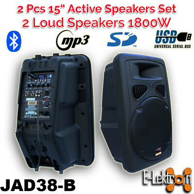 "2 X Digital Sound System USB/SD Bluetooth Active Loud 15"" 900W Powered Speaker"