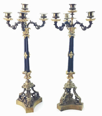 Pair Antique French Empire Revival Bronze Dore Ormolu Gilt 4 Light Candelabras