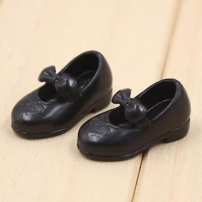 1Pair Black Fashion Doll Bow Shoes Fit for 1/6 12inch Neo Blythe Azone Dolls
