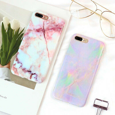 Glossy Granite Marble Texture Pattern Soft Phone Case For iPhone X 8 7 6 6S Plus