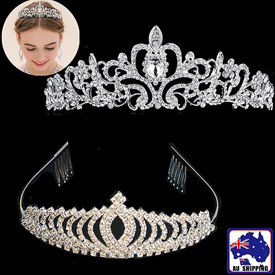 Wedding Crystal Rhinestone Bride Bridal Crown Party Tiara Headband JBOW770