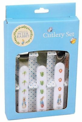New Beatrix Potter Peter Rabbit 3Pc Cutlery Set Spoon Knife Fork Baby Stainless