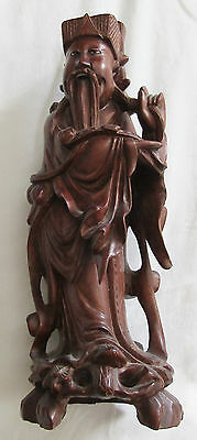 Antique Oriental Hand Carved Wood (?Rosewood) Figure