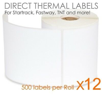 12 x 500 100x150mm Direct Thermal Shipping Labels Fastway Startrack eParcel 4x6