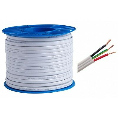 100m Roll Electrical Cable flat 1.5mm 3 core (2C + E) - for lighting circuits