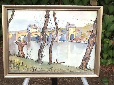 ORIGINAL Signed Vintage European Watercolor Painting - By Artist M. Garrynorth