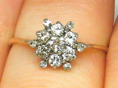 9ct Gold 9K Gold  0.45ct Diamond Cluster Engagement ring size K
