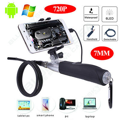 6LED 7mm Waterproof Endoscope Borescope Snake Inspection Camera For Smartphone