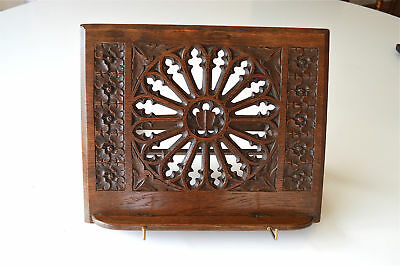 Original hand carved antique Gothic oak book stand adjustable book rack lecturn