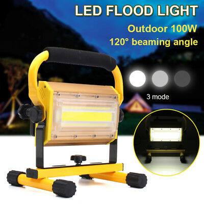 100W COB LED Portable Rechargeable Flood Light Spot Work Camping Outdoor Lamp
