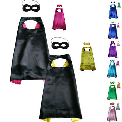 Kids Funny Superhero Cape+ Mask Solid Capes For Children Party Costume Dress DIY