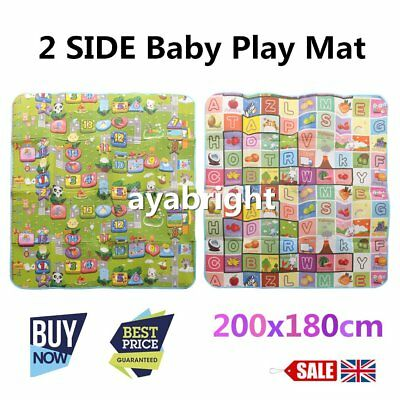 200*180cm Kids  Playmat Rug Carpet Crawling Educational Game Play Mat 2 Side UK