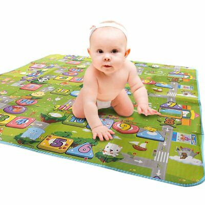 2 Side Kids Crawling Educational Game Play Mat Soft Foam Picnic Carpet