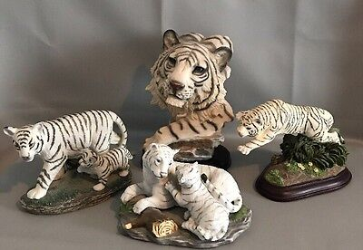 White Bengal Tiger Statue Figurines Lot Of 4
