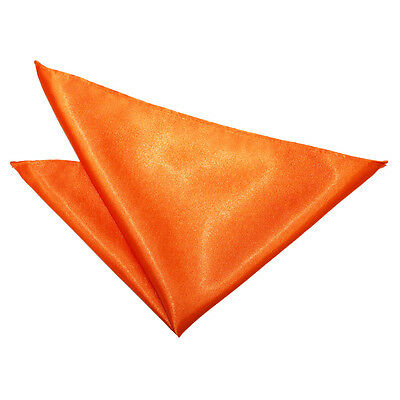 DQT Satin Plain Solid Burnt Orange Formal Handkerchief Hanky Pocket Square