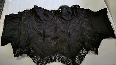 autumn leaf vintage size 36D black lace underwired basque bra