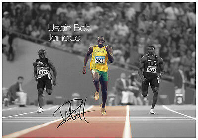 Usain Bolt Autographed Signed Photograph Running Olumpic Poster Print.